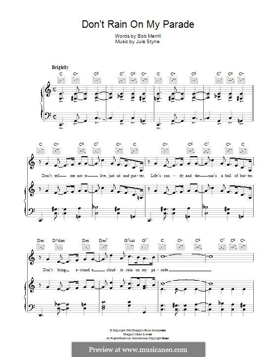 Don't Rain on My Parade: For voice and piano (or guitar) by Jule Styne