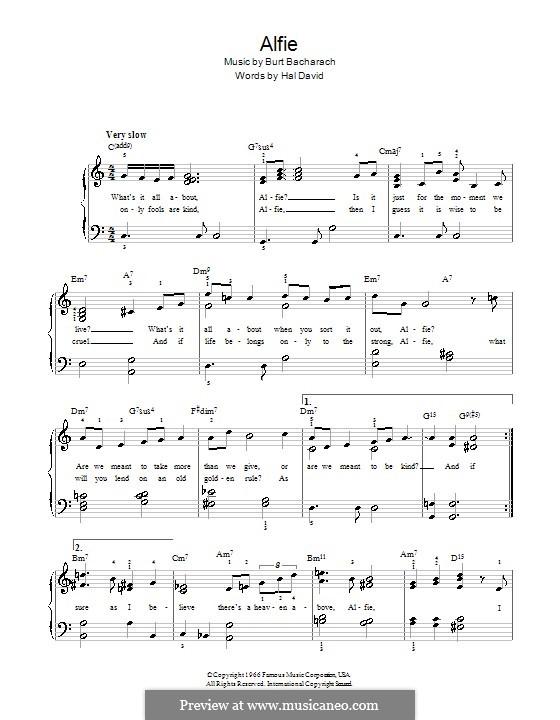 Alfie: For easy piano by Burt Bacharach