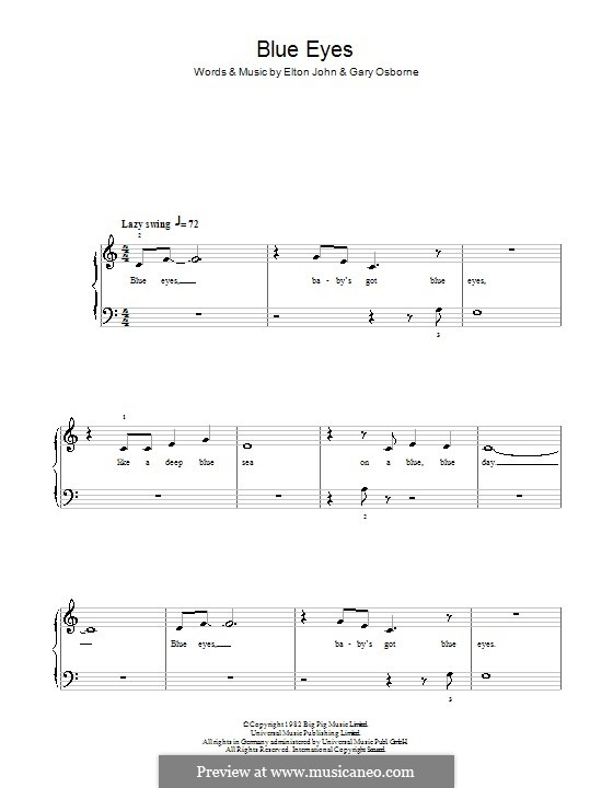 Blue Eyes: For easy piano by Elton John, Gary Osborne