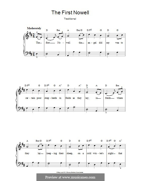 The First Nowell (The First Noël), Printable scores: For voice and piano or guitar (D Major) by folklore