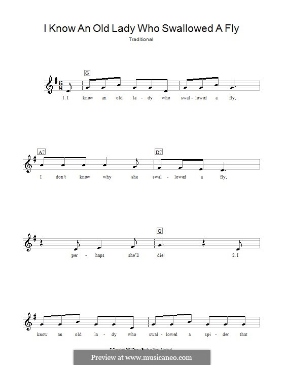 I Know an Old Lady Who Swallowed a Fly: Melody line, lyrics and chords by folklore