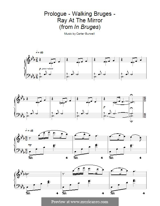 Prologue - Walking Bruges - Ray at the Mirror (from In Bruges): For piano by Carter Burwell