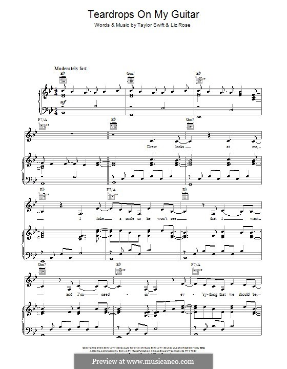 Teardrops on My Guitar by L. Rose, T. Swift - sheet music on MusicaNeo