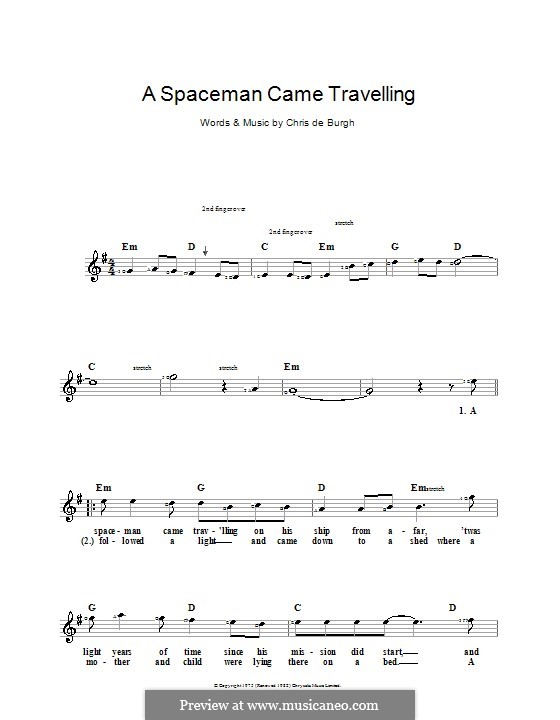 A Spaceman Came Travelling: For keyboard by Chris de Burgh
