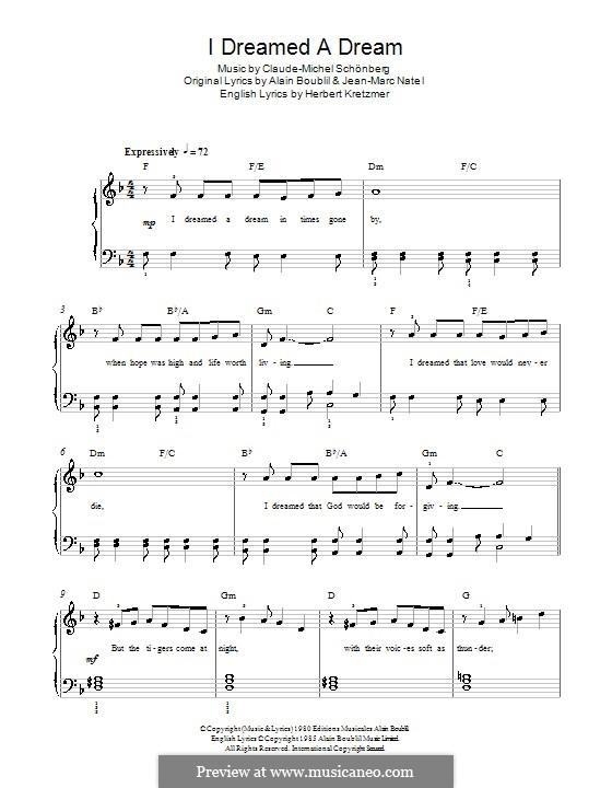 I Dreamed a Dream, for Piano: Easy version by Claude-Michel Schönberg