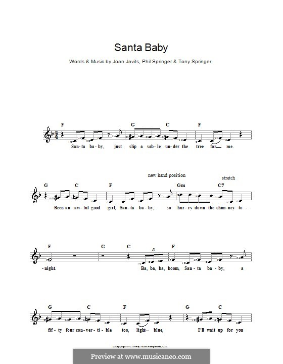 Santa Baby (Eartha Kitt): For keyboard by Joan Javits, Philip Springer, Tony Springer