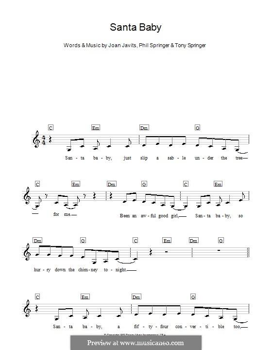 Santa Baby (Eartha Kitt): Melody line, lyrics and chords by Joan Javits, Philip Springer, Tony Springer