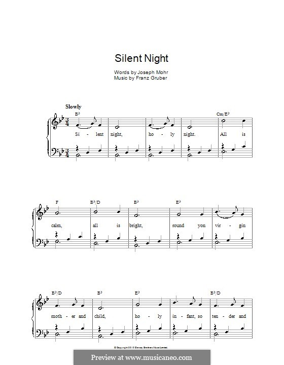 Silent Night (Printable): For voice and piano or guitar (B Flat Major) by Franz Xaver Gruber