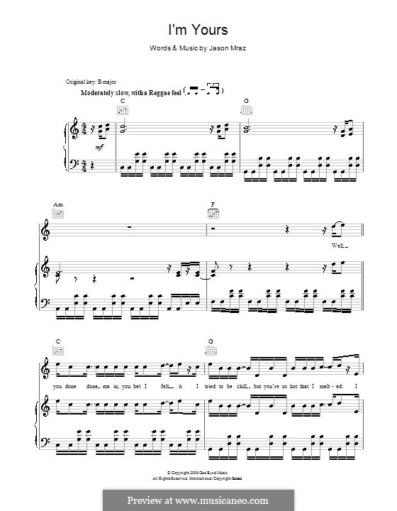 I'm Yours: For voice and piano (or guitar) by Jason Mraz