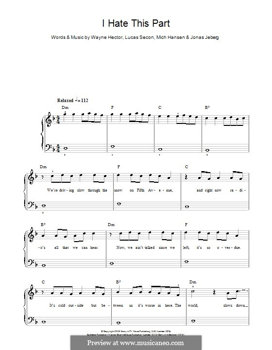 I Hate This Part (Pussycat Dolls): For easy piano by Jonas Jeberg, Lucas Secon, Mich Hansen, Wayne Anthony Hector