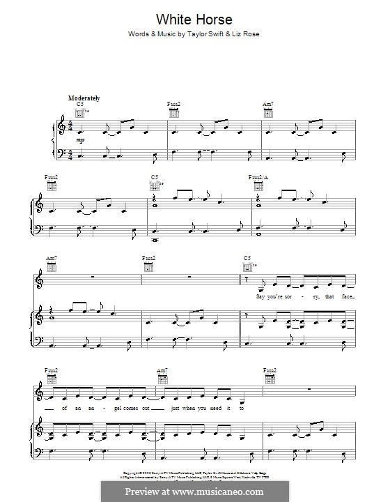 White Horse (Taylor Swift): For voice and piano (or guitar) by Liz Rose