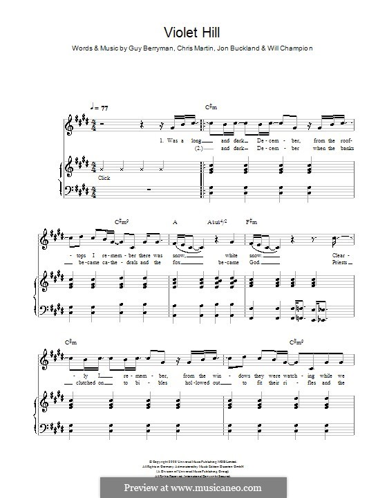Violet Hill (Coldplay): For voice and piano (or guitar) by Chris Martin, Guy Berryman, Jonny Buckland, Will Champion