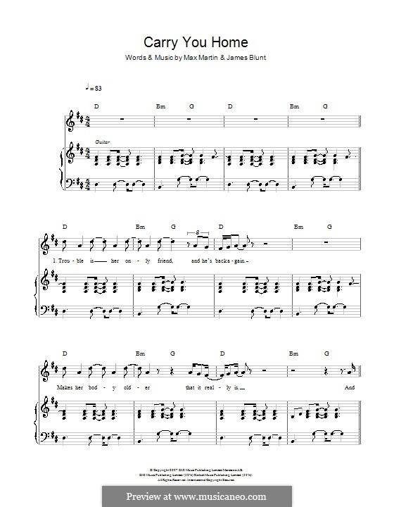Carry You Home: For voice and piano (or guitar) by James Blunt, Max Martin