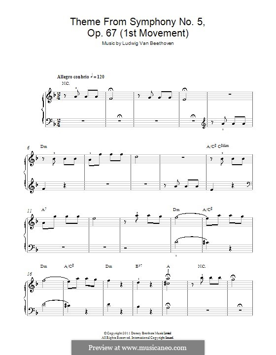 Movement I: Version for easy piano (Theme) by Ludwig van Beethoven