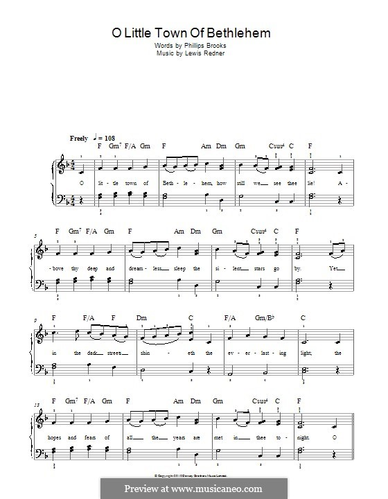 O Little Town of Bethlehem, for Piano: Easy version by Lewis Henry Redner