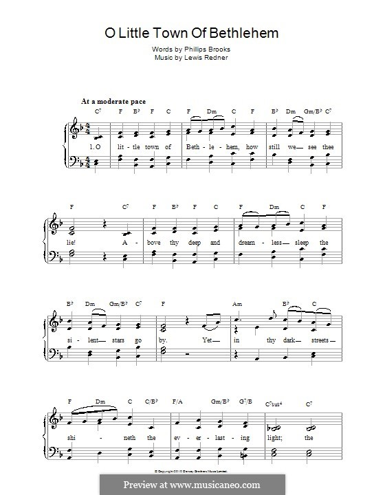 O Little Town of Bethlehem: For voice and piano by Lewis Henry Redner
