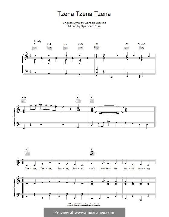 Tzena Tzena Tzena (The Weavers): For voice and piano (or guitar) by Gordon Jenkins, Spencer Ross