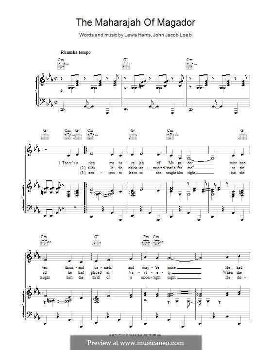 The Maharajah of Magador (Vaughn Monroe): For voice and piano (or guitar) by Harry Lewis, John Jacob Loeb