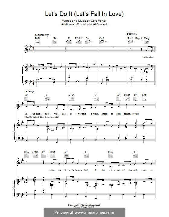 Let's Do It (Let's Fall in Love): For voice and piano (or guitar) by Cole Porter