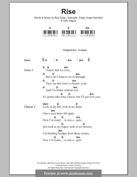 Rise: Lyrics and piano chords by Gabrielle, Bob Dylan, Ferdy Unger-Hamilton, Ollie Dagois