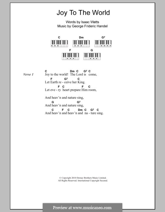 Joy to the World (Printable Scores): Lyrics and piano chords by Georg Friedrich Händel