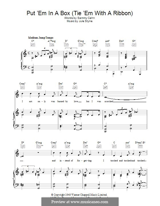 Put 'Em in a Box (Tie 'Em with a Ribbon): For voice and piano (or guitar) by Jule Styne