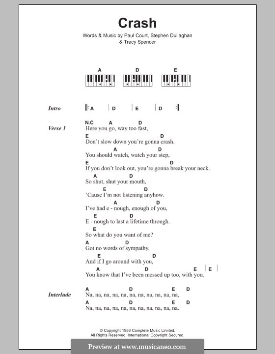 Crash (The Primitives): Lyrics and piano chords by Paul Court, Stephen Dullaghan, Tracy Spencer