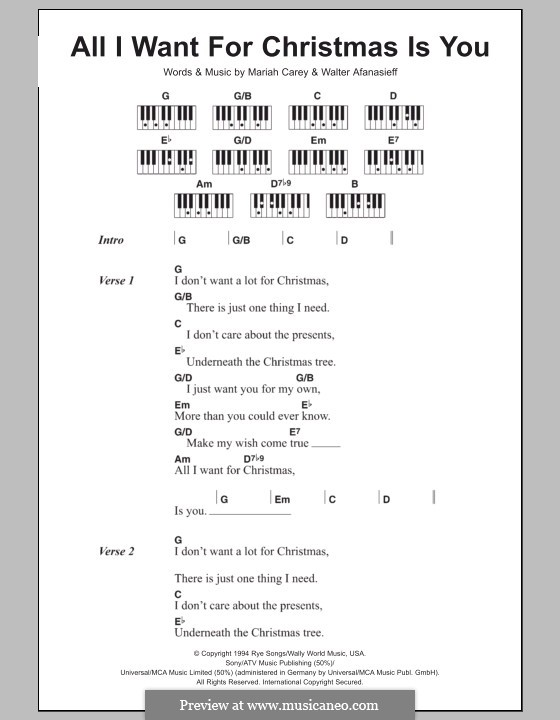 All I Want for Christmas is You: Lyrics and piano chords by Mariah Carey, Walter Afanasieff