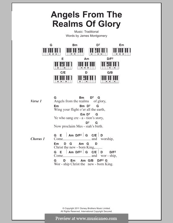 Angels from the Realms of Glory: Lyrics and piano chords by folklore