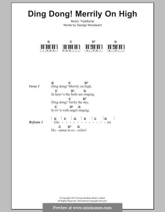 Ding Dong! Merrily on High (Printable Scores): Lyrics and piano chords by folklore