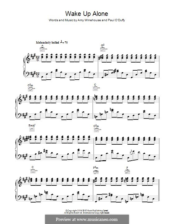 Wake Up Alone: For voice and piano (or guitar) by Amy Winehouse, Paul Staveley O'Duffy