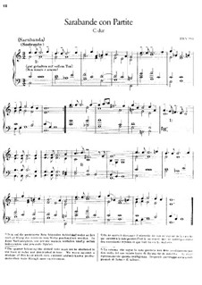 Saraband and Partita on Themes from 'Bellerophon' by Lully, BWV 990: For piano by Johann Sebastian Bach