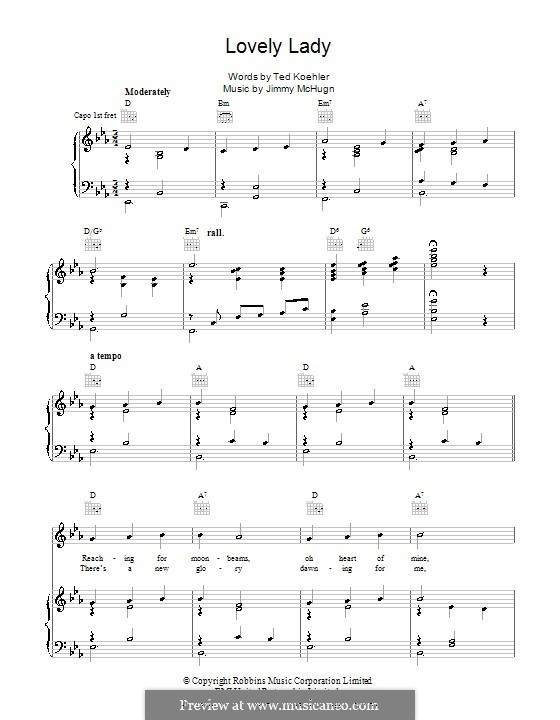 Lovely Lady: For voice and piano (or guitar) by Jimmy McHugh