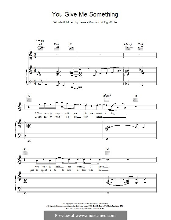 You Give Me Something: For voice and piano (or guitar) by Eg White, James Morrison