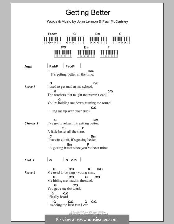 Getting Better (The Beatles): Lyrics and piano chords by John Lennon, Paul McCartney