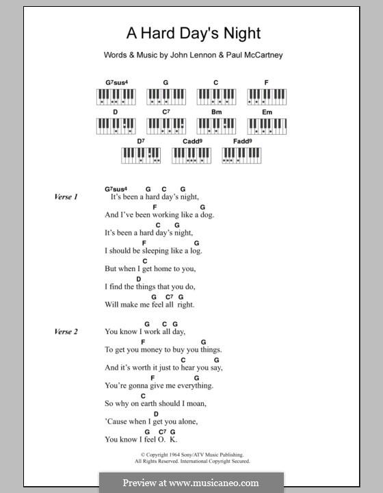 A Hard Day's Night (The Beatles): Lyrics and piano chords by John Lennon, Paul McCartney