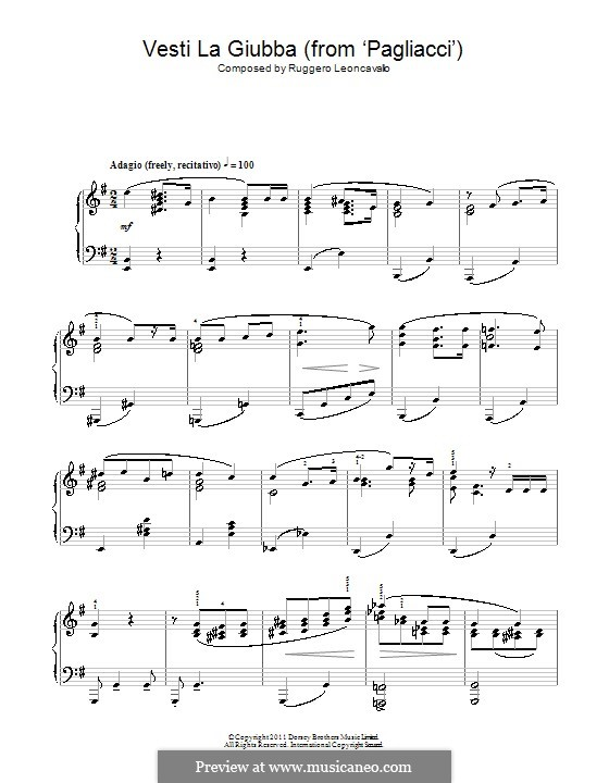 Pagliacci: Vesti la Giubba. Version for piano by Ruggero Leoncavallo