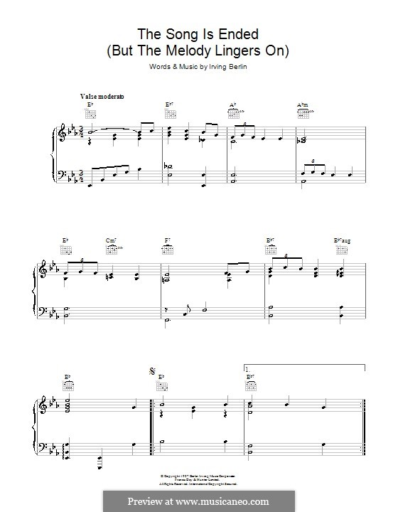 The Song Is Ended: For voice and piano (or guitar) by Irving Berlin