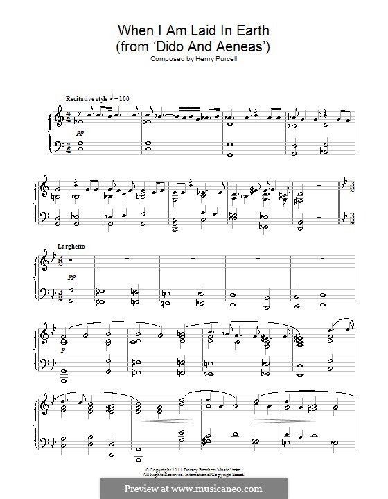 Dido's Lament: For piano (high quality sheet music) by Henry Purcell