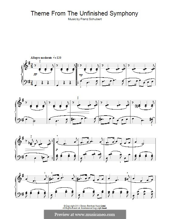Symphony No.8 in B Minor 'Unfinished', D.759: Theme. Version for piano (high quality sheet music) by Franz Schubert