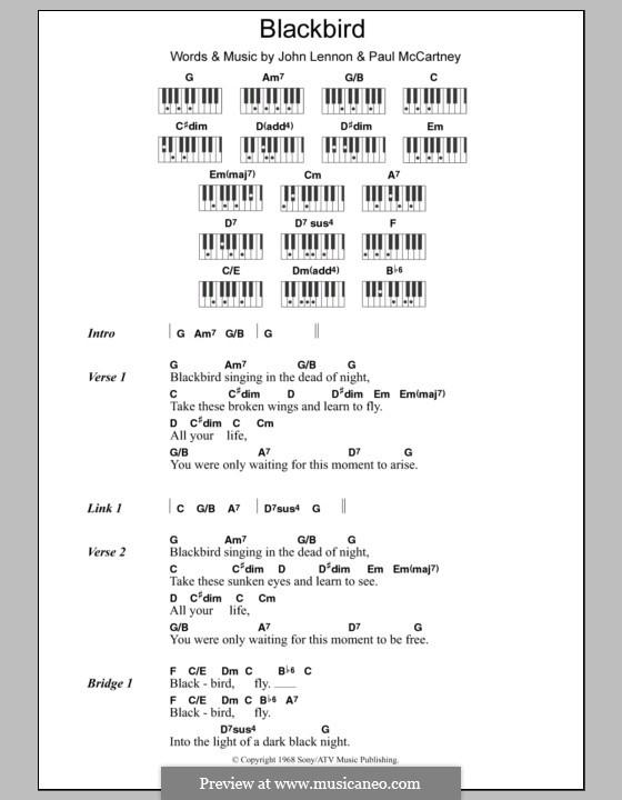 Blackbird (The Beatles): Lyrics and piano chords by John Lennon, Paul McCartney