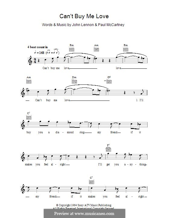Can't Buy Me Love (The Beatles): Melody line, lyrics and chords by John Lennon, Paul McCartney