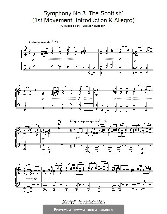 Symphony No.3 in A Minor 'Scottish', Op.56: Movement I. Version for piano by Felix Mendelssohn-Bartholdy