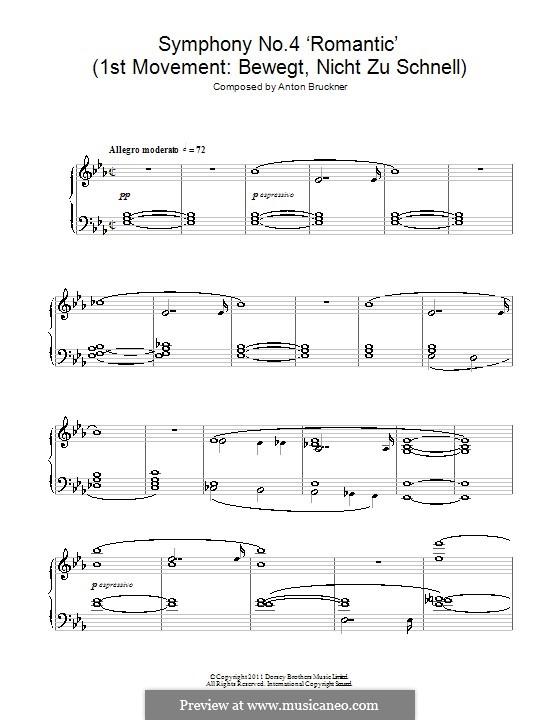 Symphony No.4 in E Flat Major 'Romantic', WAB 104: Movement I. Arrangement for two pianos four hands by Anton Bruckner