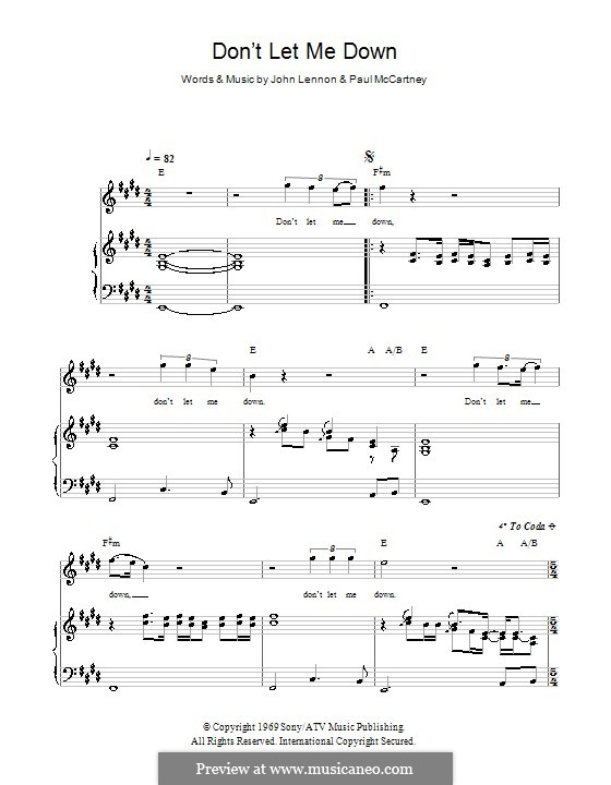Don't Let Me Down (The Beatles): For voice and piano (or guitar) by John Lennon, Paul McCartney