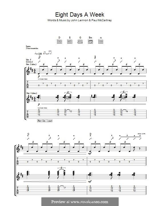 Eight Days a Week (The Beatles): For guitar by John Lennon, Paul McCartney