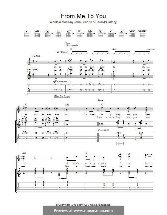 From Me to You (The Beatles): For guitar with tab by John Lennon, Paul McCartney