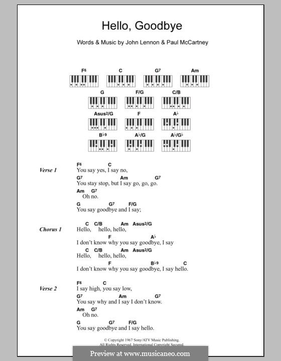 Hello, Goodbye (The Beatles): Lyrics and piano chords by John Lennon, Paul McCartney