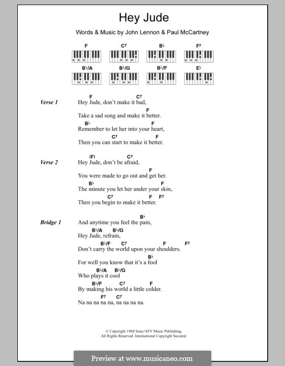 Hey Jude (The Beatles): Lyrics and piano chords by John Lennon, Paul McCartney