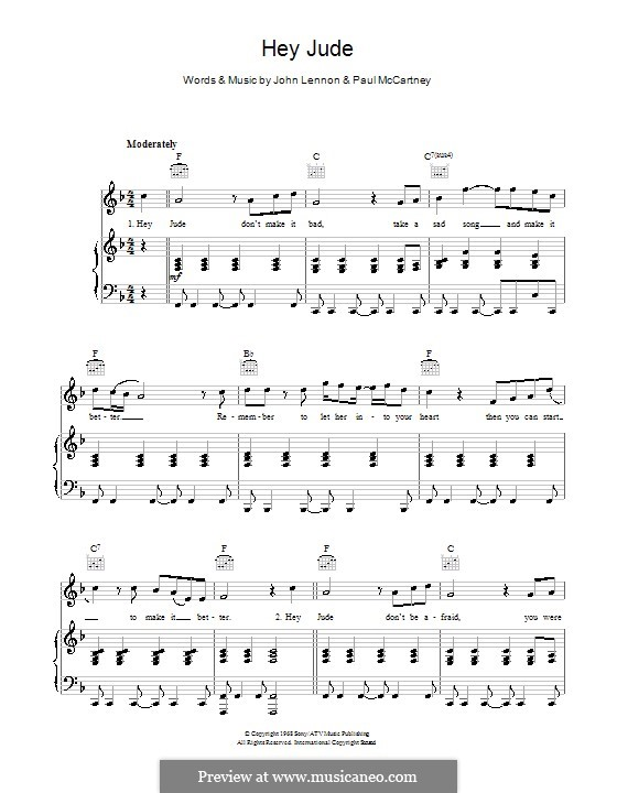 Hey Jude (The Beatles): For voice and piano or guitar (high quality sheet music) by John Lennon, Paul McCartney